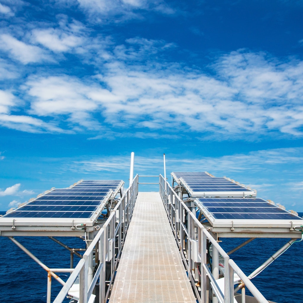Solar panels on oil rig