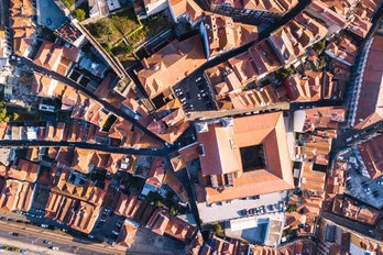 Aerial view of Porto , Portugal