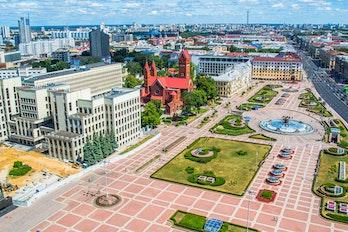 Aerial view of Minsk, Belarus