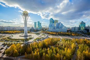 Aerial view of Kazakhstan capital city