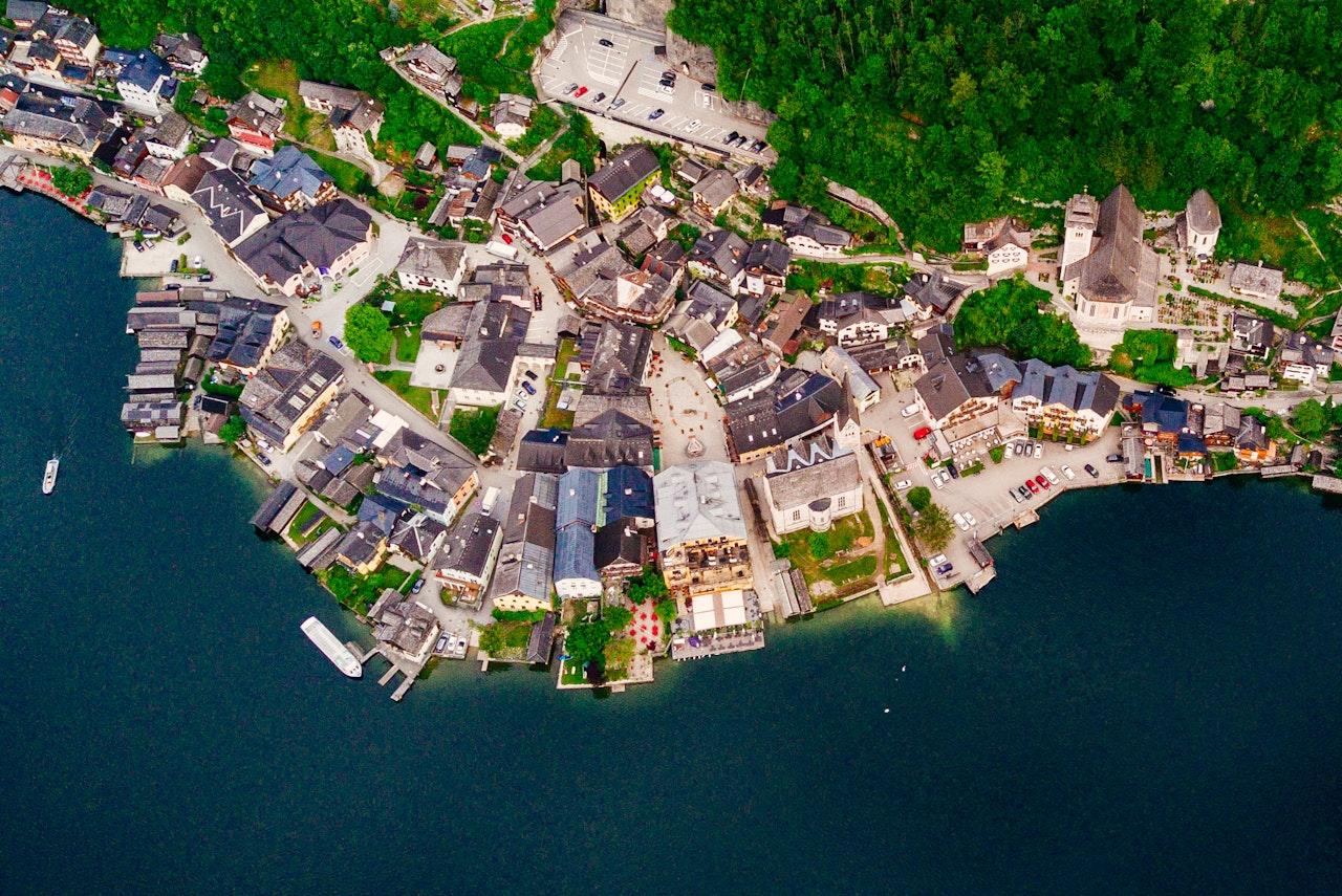 Aerial View Of Hallstatt Austria