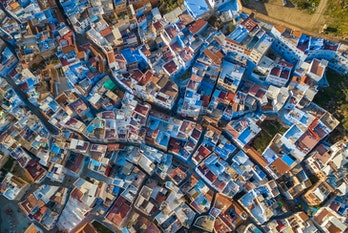 Aerial View Of Chefchaouen Morocco