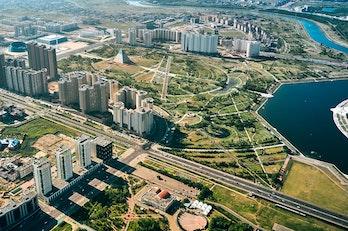 Nur-Sultan from above, Kazakhstan