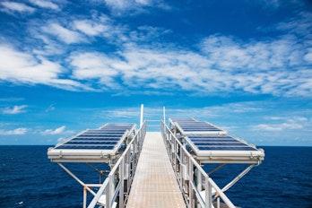 Solar panels on oil rig